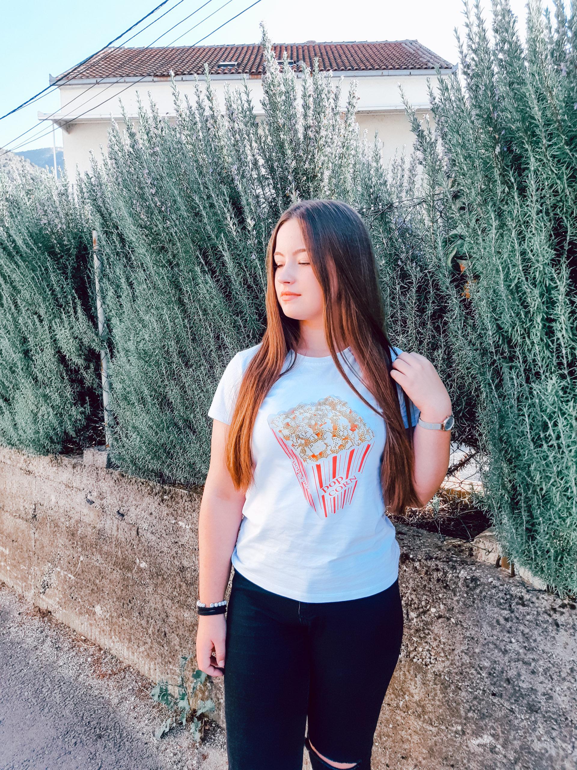 sanammos movie night popcorn t-shirt tee review livinglikev fashion blogger living like v style blogger