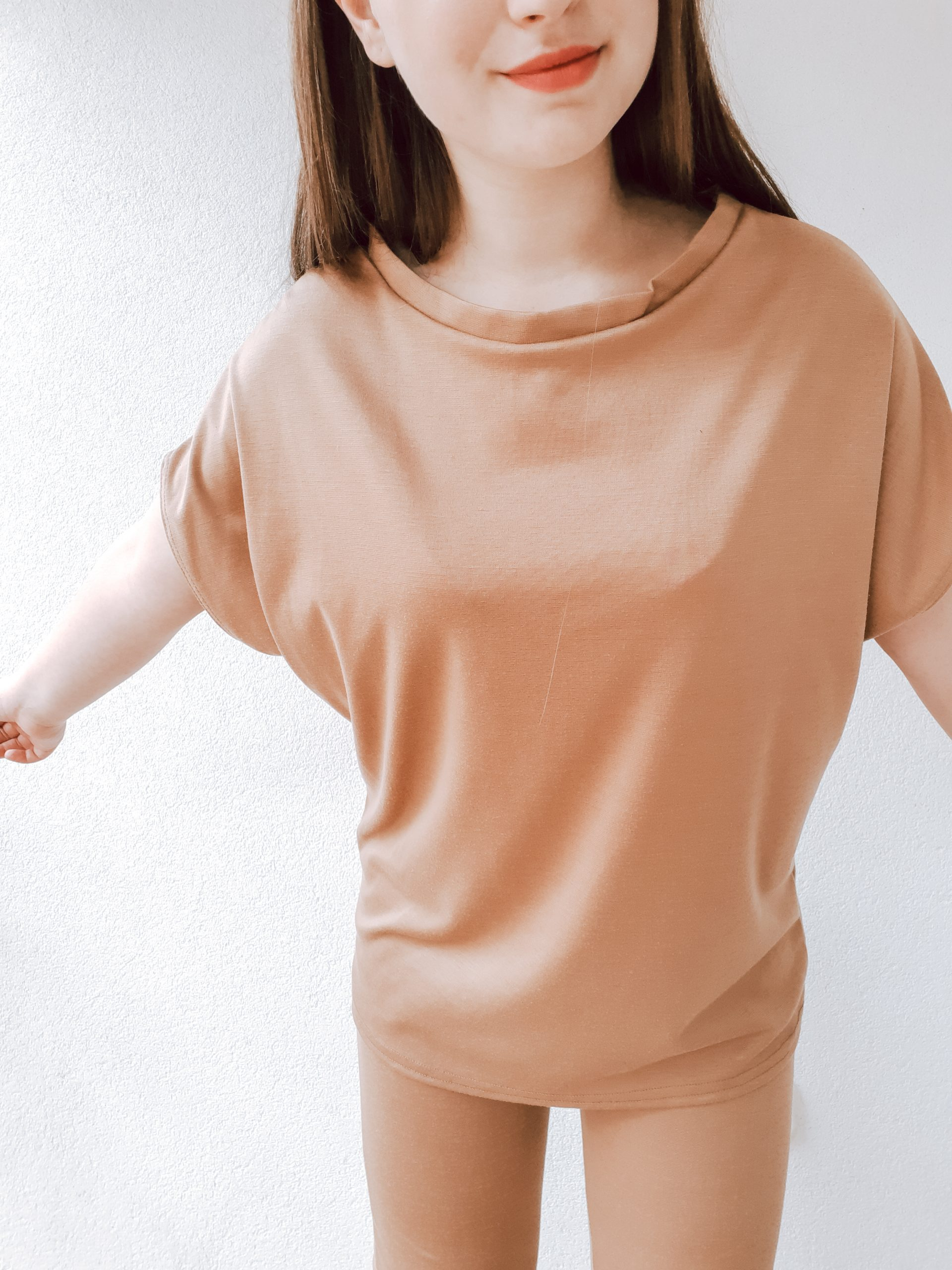 Camel Short Sleeve Boxy Loungewear Set - Lacy femme luxe review haul