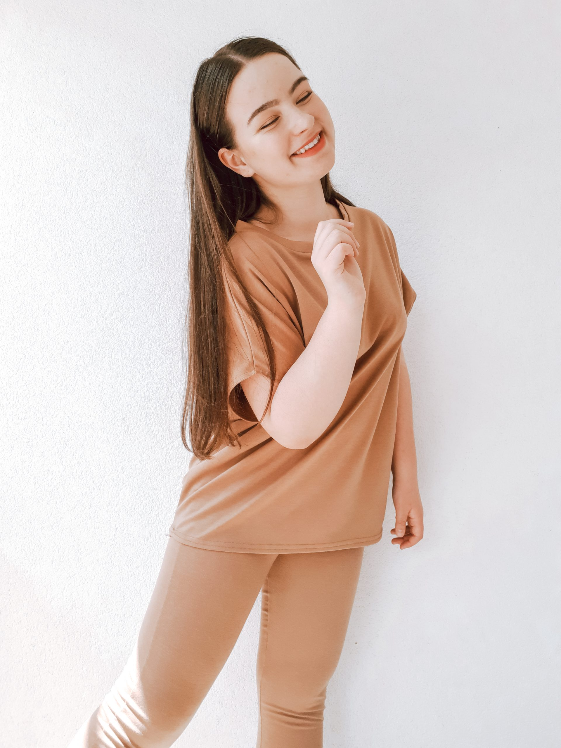 living like v Camel Short Sleeve Boxy Loungewear Set - Lacy femme luxe review haul